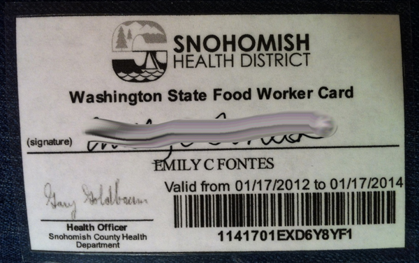 Tacoma Health Department Food Handlers Card